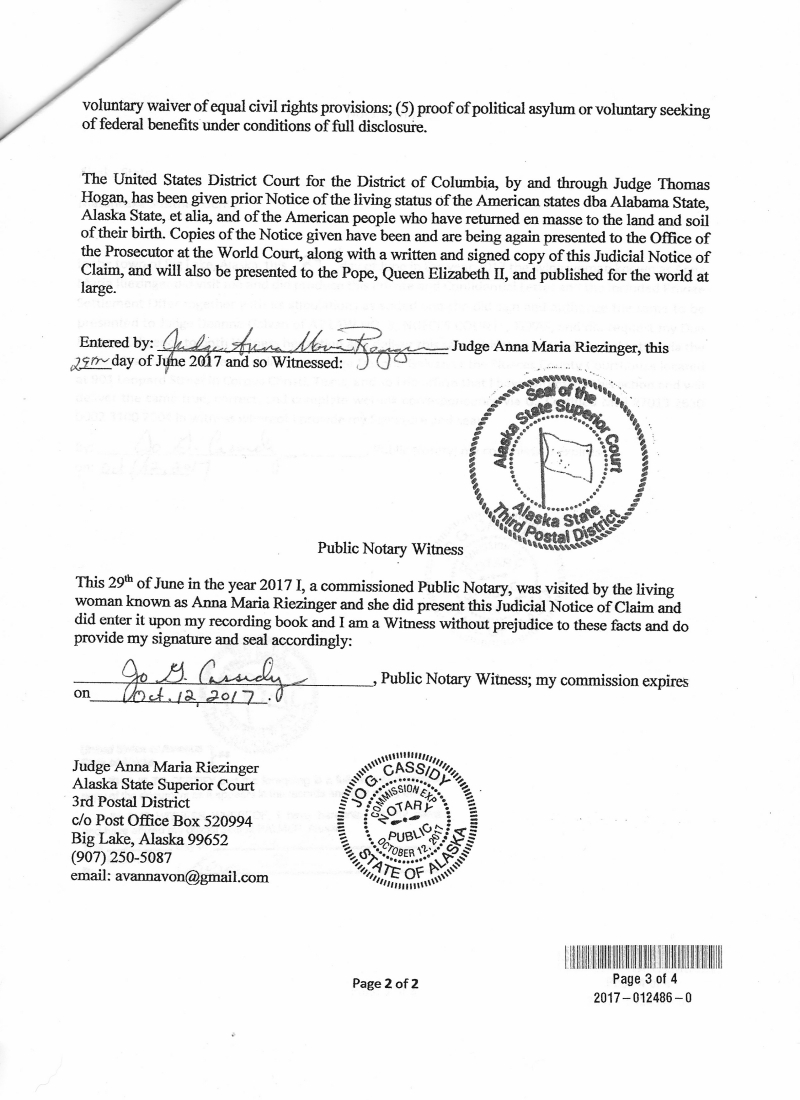 Anna von reitz new human new earth communities judicial notice of claim on 29 june 2017 extension 2016 015862 0 1betcityfo Gallery